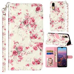 Rambler Rose Flower 3D Leather Phone Holster Wallet Case for Huawei P20