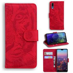 Intricate Embossing Tiger Face Leather Wallet Case for Huawei P20 - Red