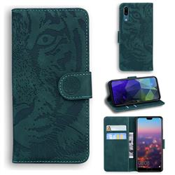 Intricate Embossing Tiger Face Leather Wallet Case for Huawei P20 - Green