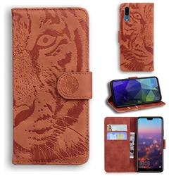 Intricate Embossing Tiger Face Leather Wallet Case for Huawei P20 - Brown