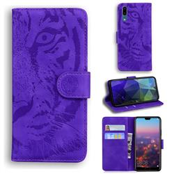 Intricate Embossing Tiger Face Leather Wallet Case for Huawei P20 - Purple