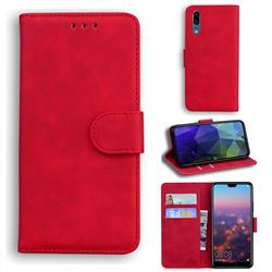 Retro Classic Skin Feel Leather Wallet Phone Case for Huawei P20 - Red