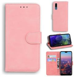 Retro Classic Skin Feel Leather Wallet Phone Case for Huawei P20 - Pink