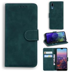 Retro Classic Skin Feel Leather Wallet Phone Case for Huawei P20 - Green