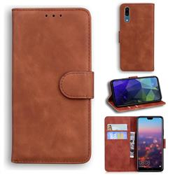 Retro Classic Skin Feel Leather Wallet Phone Case for Huawei P20 - Brown