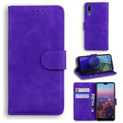 Retro Classic Skin Feel Leather Wallet Phone Case for Huawei P20 - Purple