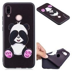 Lovely Panda 3D Embossed Relief Black Soft Back Cover for Huawei P20 Lite
