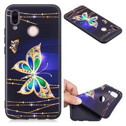 Golden Shining Butterfly 3D Embossed Relief Black Soft Back Cover for Huawei P20 Lite
