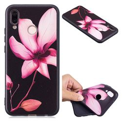 Lotus Flower 3D Embossed Relief Black Soft Back Cover for Huawei P20 Lite