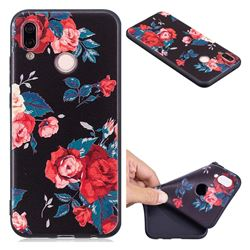 Safflower 3D Embossed Relief Black Soft Back Cover for Huawei P20 Lite