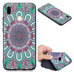 Mandala 3D Embossed Relief Black Soft Back Cover for Huawei P20 Lite