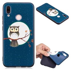 Moon and Owl 3D Embossed Relief Black Soft Back Cover for Huawei P20 Lite