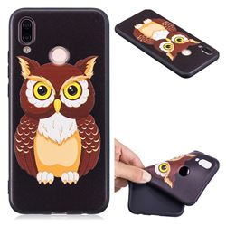Big Owl 3D Embossed Relief Black Soft Back Cover for Huawei P20 Lite