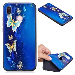 Golden Butterflies 3D Embossed Relief Black Soft Back Cover for Huawei P20 Lite