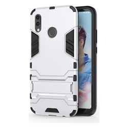 Armor Premium Tactical Grip Kickstand Shockproof Dual Layer Rugged Hard Cover for Huawei P20 Lite - Silver