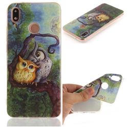 Oil Painting Owl IMD Soft TPU Back Cover for Huawei P20 Lite