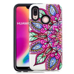 Mandara Flower Pattern 2 in 1 PC + TPU Glossy Embossed Back Cover for Huawei P20 Lite