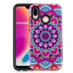 Datura Flowers Pattern 2 in 1 PC + TPU Glossy Embossed Back Cover for Huawei P20 Lite