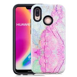 Pink Marble Pattern 2 in 1 PC + TPU Glossy Embossed Back Cover for Huawei P20 Lite