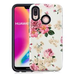 Rose Flower Pattern 2 in 1 PC + TPU Glossy Embossed Back Cover for Huawei P20 Lite