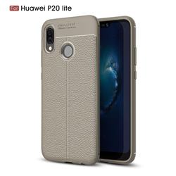Luxury Auto Focus Litchi Texture Silicone TPU Back Cover for Huawei P20 Lite - Gray