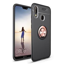 Auto Focus Invisible Ring Holder Soft Phone Case for Huawei P20 Lite - Black Gold