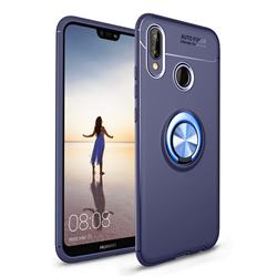 Auto Focus Invisible Ring Holder Soft Phone Case for Huawei P20 Lite - Blue