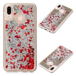 Glitter Sand Mirror Quicksand Dynamic Liquid Star TPU Case for Huawei P20 Lite - Red