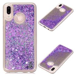 Glitter Sand Mirror Quicksand Dynamic Liquid Star TPU Case for Huawei P20 Lite - Purple