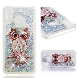 Seashell Owl Dynamic Liquid Glitter Quicksand Soft TPU Case for Huawei P20 Lite