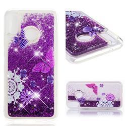 Purple Flower Butterfly Dynamic Liquid Glitter Quicksand Soft TPU Case for Huawei P20 Lite