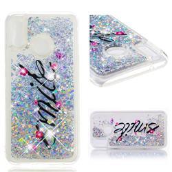 Smile Flower Dynamic Liquid Glitter Quicksand Soft TPU Case for Huawei P20 Lite