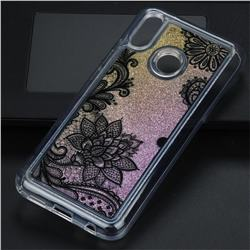 Diagonal Lace Glassy Glitter Quicksand Dynamic Liquid Soft Phone Case for Huawei P20 Lite