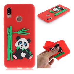 Panda Eating Bamboo Soft 3D Silicone Case for Huawei P20 Lite - Red