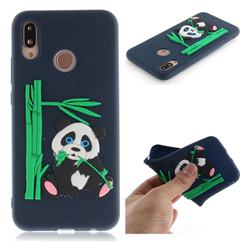 Panda Eating Bamboo Soft 3D Silicone Case for Huawei P20 Lite - Dark Blue