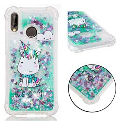 Tiny Unicorn Dynamic Liquid Glitter Sand Quicksand Star TPU Case for Huawei P20 Lite