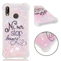 Never Stop Dreaming Dynamic Liquid Glitter Sand Quicksand Star TPU Case for Huawei P20 Lite