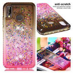 Diamond Frame Liquid Glitter Quicksand Sequins Phone Case for Huawei P20 Lite - Gray Pink
