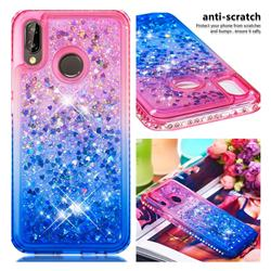 Diamond Frame Liquid Glitter Quicksand Sequins Phone Case for Huawei P20 Lite - Pink Blue