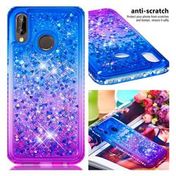 Diamond Frame Liquid Glitter Quicksand Sequins Phone Case for Huawei P20 Lite - Blue Purple