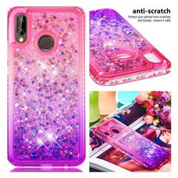 Diamond Frame Liquid Glitter Quicksand Sequins Phone Case for Huawei P20 Lite - Pink Purple