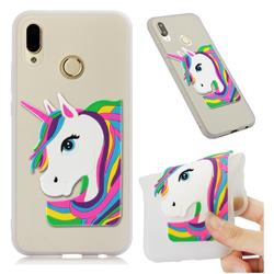 Rainbow Unicorn Soft 3D Silicone Case for Huawei P20 Lite - Translucent White