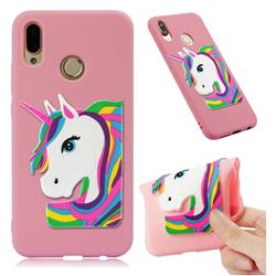 Rainbow Unicorn Soft 3D Silicone Case for Huawei P20 Lite - Pink