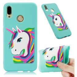 Rainbow Unicorn Soft 3D Silicone Case for Huawei P20 Lite - Sky Blue