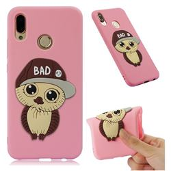 Bad Boy Owl Soft 3D Silicone Case for Huawei P20 Lite - Pink