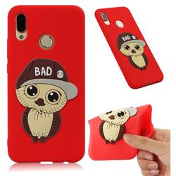 Bad Boy Owl Soft 3D Silicone Case for Huawei P20 Lite - Red