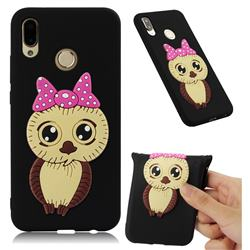 Bowknot Girl Owl Soft 3D Silicone Case for Huawei P20 Lite - Black