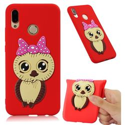 Bowknot Girl Owl Soft 3D Silicone Case for Huawei P20 Lite - Red