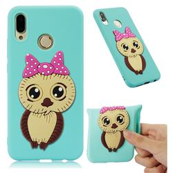 Bowknot Girl Owl Soft 3D Silicone Case for Huawei P20 Lite - Sky Blue