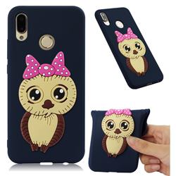 Bowknot Girl Owl Soft 3D Silicone Case for Huawei P20 Lite - Navy